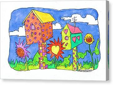 Toon Canvas Print - Bird Houses by Linda Blondheim