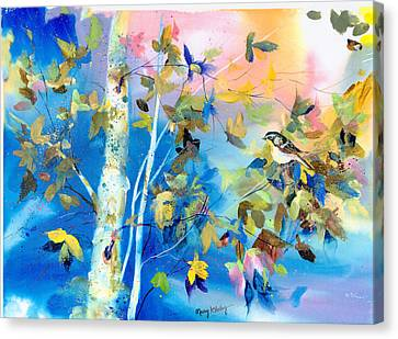 Canvas Print featuring the painting Bird In Blue by Mary Haley-Rocks