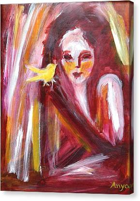 Canvas Print featuring the painting Bird In Hand by Anya Heller