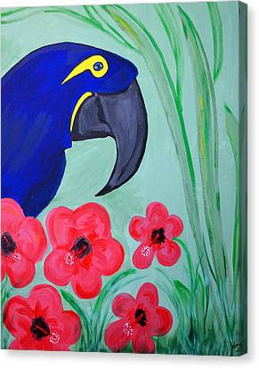 Canvas Print featuring the painting Bird In Paradise   by Nora Shepley