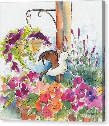 Blue Begonia Canvas Print - Bird In The Begonias by Pat Katz