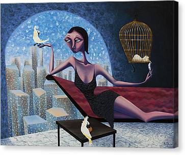 Bird Lady Canvas Print by Ned Shuchter