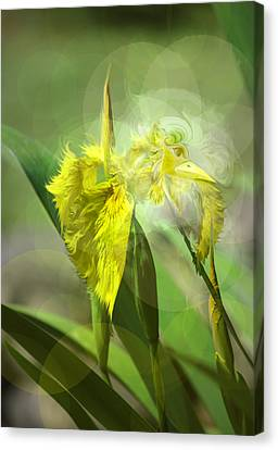 Canvas Print featuring the photograph Bird Of Iris by Adria Trail