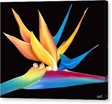 Canvas Print featuring the painting Bird Of Paradise by Laura Bell