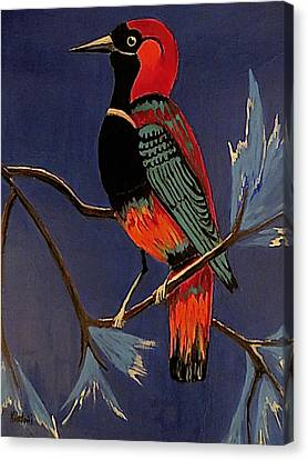 Canvas Print featuring the painting Bird On A Branch by Kathleen Sartoris