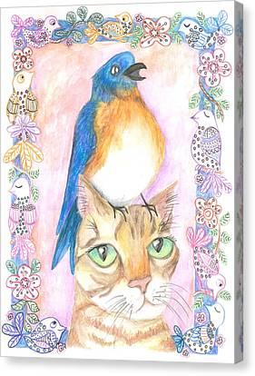 Canvas Print - Bird On A Cat's Head by Cherie Sexsmith