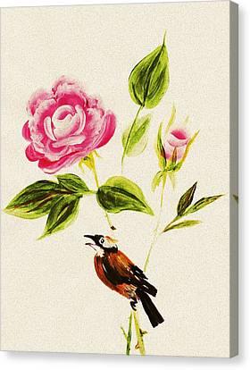 Bird On A Flower Canvas Print by Anastasiya Malakhova
