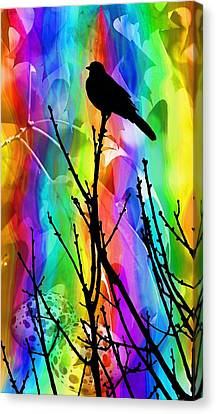 Canvas Print featuring the photograph Bird On A Stick by Elizabeth Budd