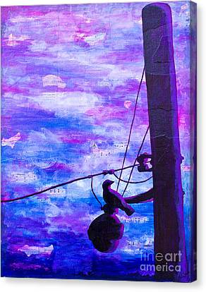Bird On A Wire Canvas Print by Melissa Sherbon