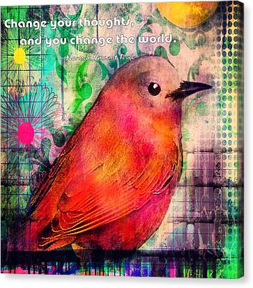 Bird On A Wire Canvas Print by Robin Mead