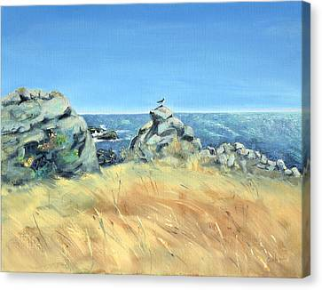 Canvas Print featuring the painting Bird On Rock And Silvery Blue Sea by Asha Carolyn Young