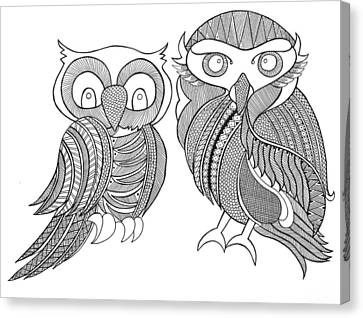 Bird Owls Canvas Print
