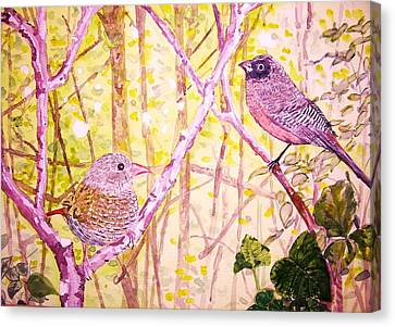 Bird Pair Canvas Print by Linda Vaughon