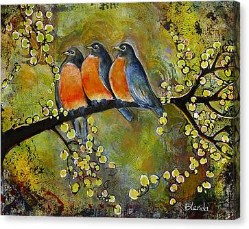 Blendastudio Canvas Print - Three Little Robin Birds by Blenda Studio