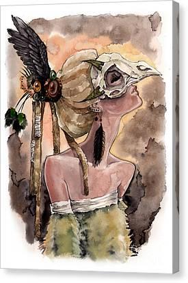 Bird Skull Mask Canvas Print by Carla Wyzgala