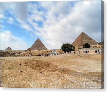 Bird Sphinx And Pyramids Canvas Print by Karam Halim