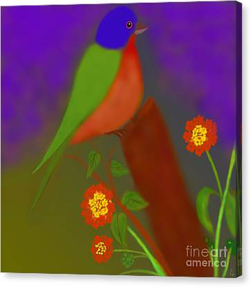 Canvas Print featuring the digital art Bird With Lantana Flowers by Latha Gokuldas Panicker