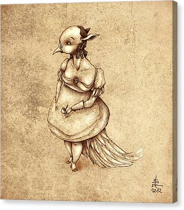 Bird Woman Canvas Print by Autogiro Illustration