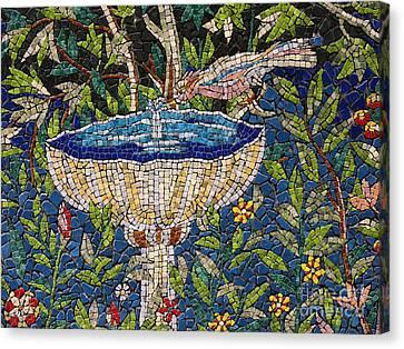 Birdbath Mosaic Canvas Print