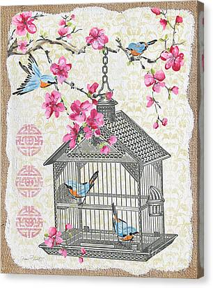 Birdcage With Cherry Blossoms-jp2611 Canvas Print