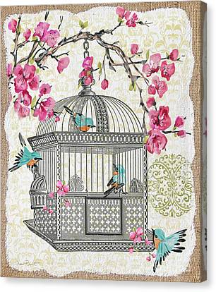Birdcage With Cherry Blossoms-jp2612 Canvas Print