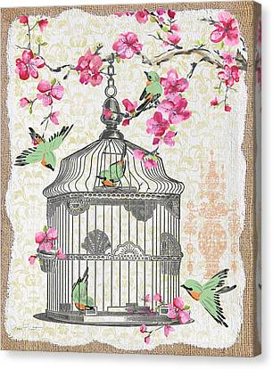 Birdcage With Cherry Blossoms-jp2613 Canvas Print