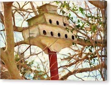 Birdhouse In Garden Canvas Print by Lanjee Chee