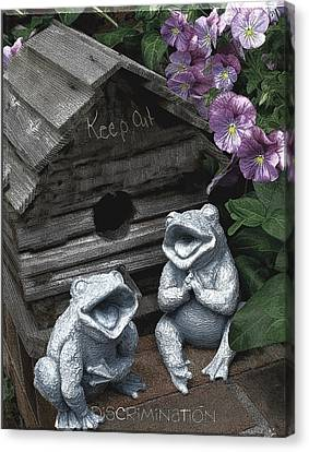 Birdhouse With Frogs Canvas Print by Bonnie Willis