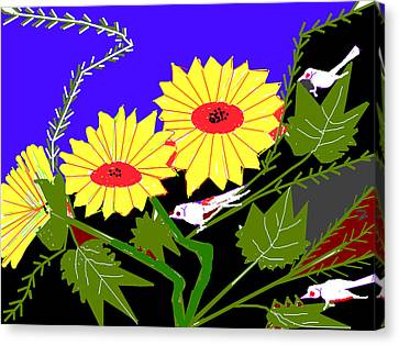 Birds And Leaves Canvas Print by Anand Swaroop Manchiraju