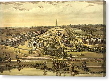 Birds Eye View, Centennial Buildings, Fairmont Park Canvas Print by Litz Collection