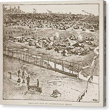 Birds-eye View Of Andersonville Prison Canvas Print