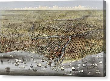 Chicago Canvas Print - Birds Eye View Of Chicago, Illinois From Above Lake by Litz Collection