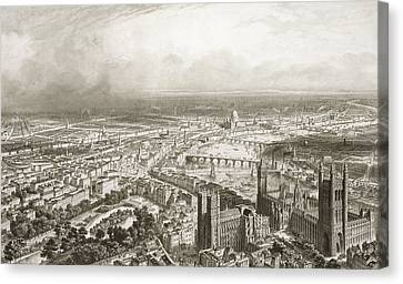 Capital Canvas Print - Birds Eye View Of London From Westminster Abbey by Nicolas Marie Joseph Chapuy