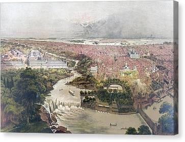 Philadelphia History Canvas Print - Birds Eye View Of Philadelphia & Centennial Grounds By John by Litz Collection