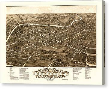 Bird's-eye View Of Youngstown Ohio 1882 Canvas Print by Mountain Dreams