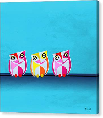 Kids Room Art Canvas Print - Birds In Blue  by Mark Ashkenazi