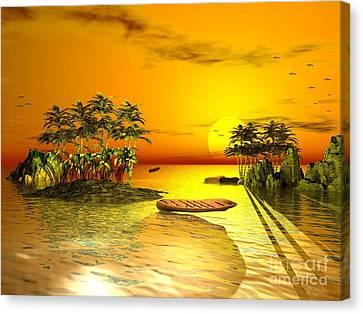Birds In Flight Above A Golden Sunset Canvas Print