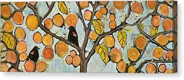 Birds In Paris Landscape Canvas Print by Blenda Studio
