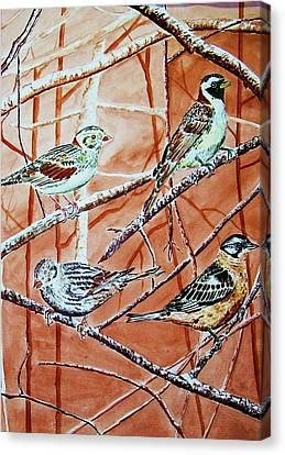 Birds In Tree Canvas Print by Linda Vaughon