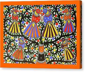 Birds-madhubani Painting Canvas Print