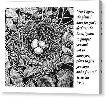 Bird's Nest With Scripture Canvas Print by Janet King