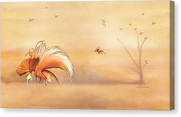 Birds Of Paradise In The Fog Canvas Print by Angela A Stanton