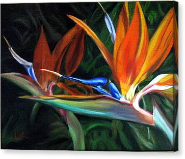Canvas Print featuring the painting Birds Of Paradise by LaVonne Hand