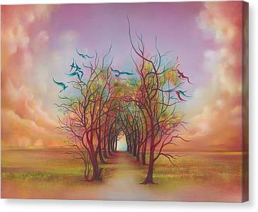 Canvas Print featuring the painting Birds Of Rainbow Mist by Anna Ewa Miarczynska