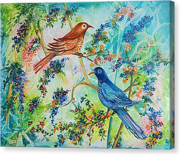 Canvas Print featuring the painting Birds Of Spring by Yolanda Rodriguez