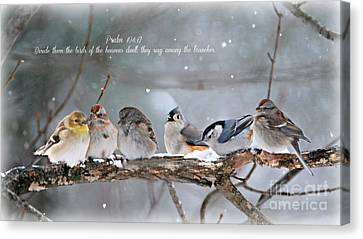Birds On A Branch Canvas Print by Lila Fisher-Wenzel