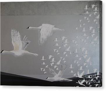 Canvas Print featuring the painting Birds On A Silver Sky by Nereida Rodriguez