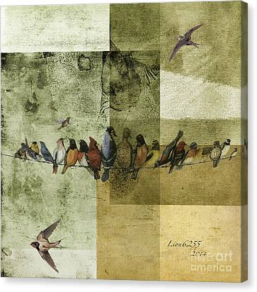 Canvas Print featuring the digital art Birds On A Wire by Melissa Messick