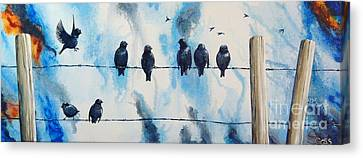 Birds On Barbed Wire Canvas Print