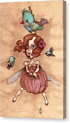 Birds On Head Woman Canvas Print by Autogiro Illustration